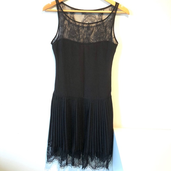 Bebe | silk lace dress with pleated skirt